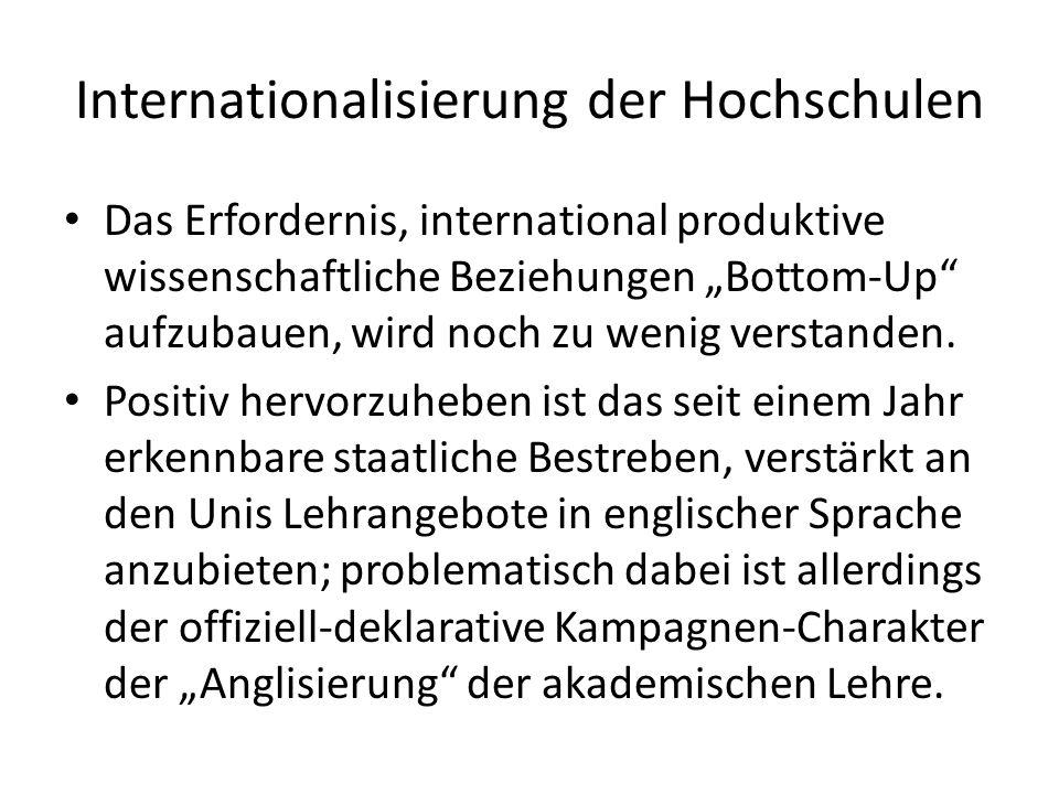 """Internationalisierung der Hochschulen Das Erfordernis, international produktive wissenschaftliche Beziehungen """"Bottom-Up aufzubauen, wird noch zu wenig verstanden."""