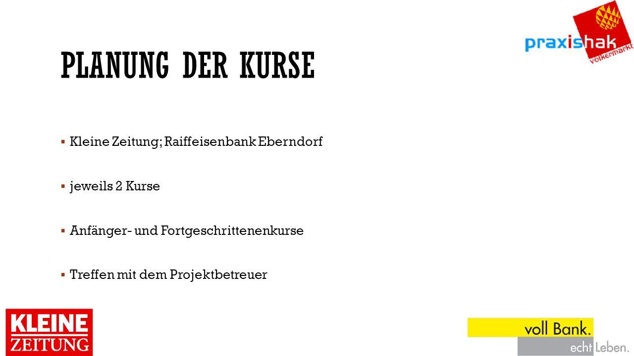 PLANUNG DER KURSE  Kleine Zeitung; Raiffeisenbank Eberndorf  jeweils 2 Kurse  Anfänger- und Fortgeschrittenenkurse  Treffen mit dem Projektbetreue
