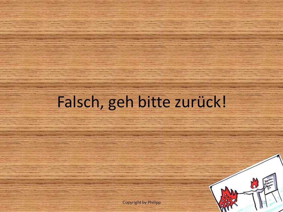 Falsch, geh bitte zurück! Copyright by Philipp11