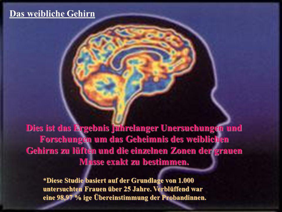 Das weibliche Gehirn Dies ist das Ergebnis jahrelanger Unersuchungen und Forschungen um das Geheimnis des weiblichen Gehirns zu lüften und die einzelnen Zonen der grauen Masse exakt zu bestimmen.