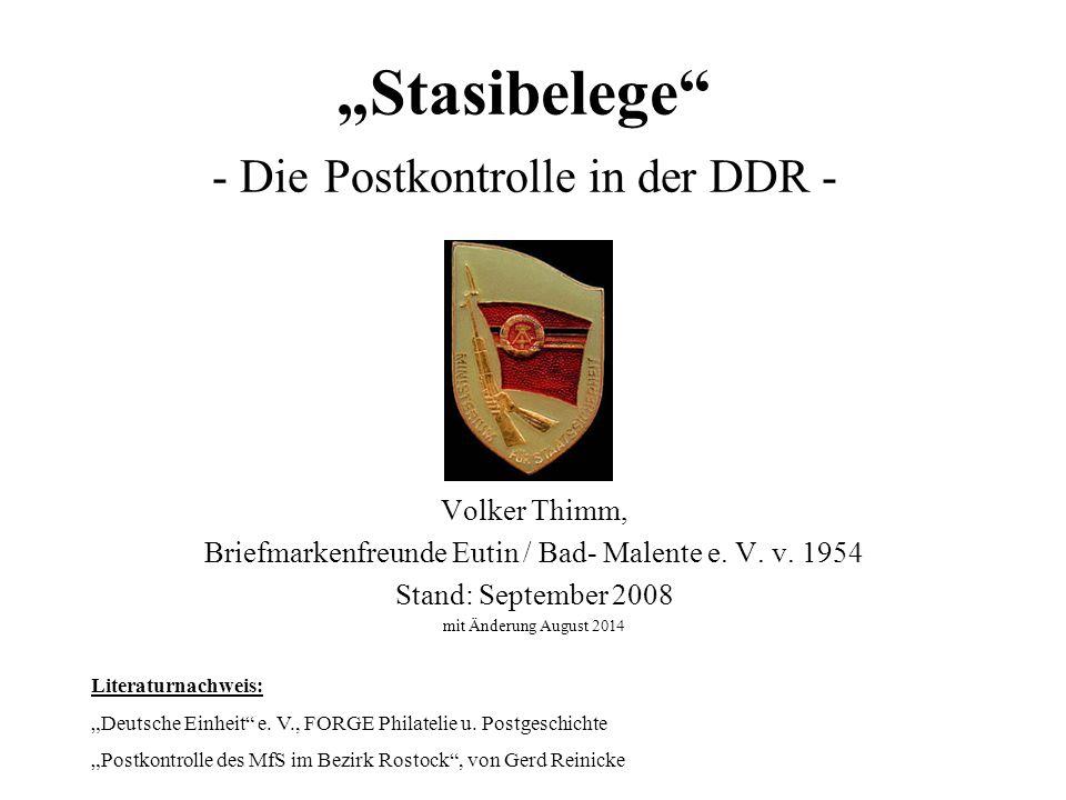 """""""Stasibelege - Die Postkontrolle in der DDR - Volker Thimm, Briefmarkenfreunde Eutin / Bad- Malente e."""