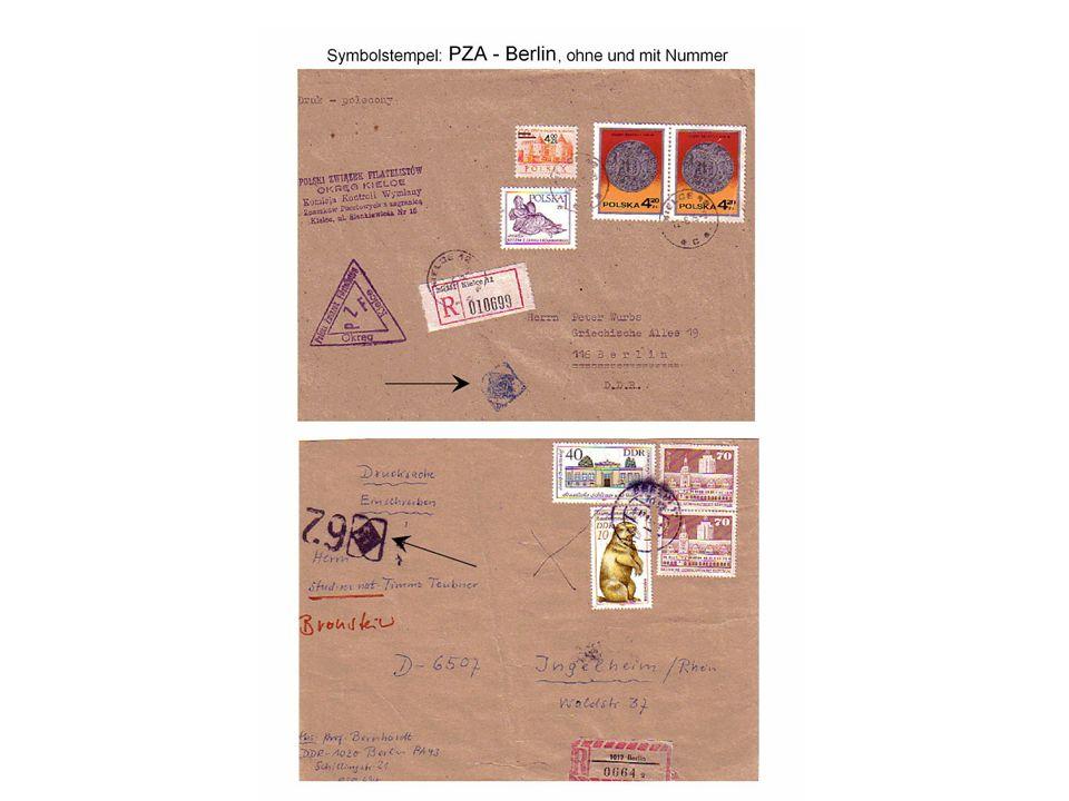 Symbolstempel, stumme Sichtstempel Die Postzollämter (PZA) erhielten nun den Bezirken zugeordnete Symbolstempel für Postsendungen aus dem Ausland oder