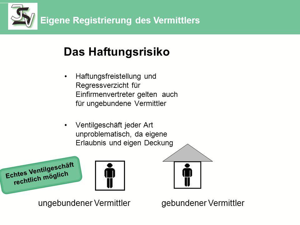 ungebundener Vermittler gebundener Vermittler Eigene Registrierung des Vermittlers Haftungsfreistellung und Regressverzicht für Einfirmenvertreter gelten auch für ungebundene Vermittler Ventilgeschäft jeder Art unproblematisch, da eigene Erlaubnis und eigen Deckung Das Haftungsrisiko Echtes Ventilgeschäft rechtlich möglich