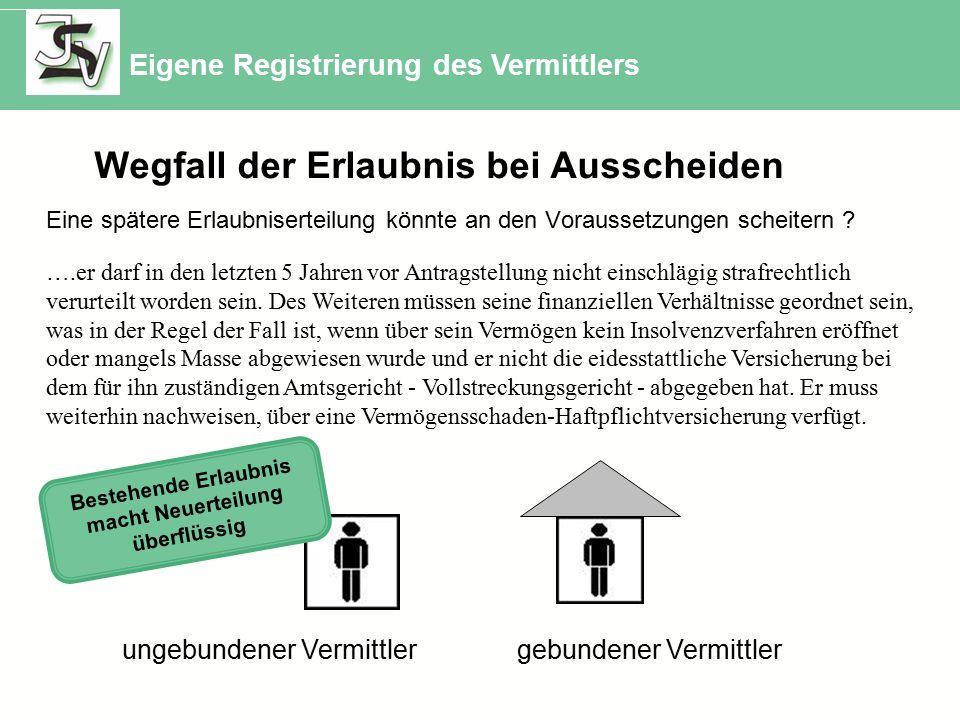 ungebundener Vermittler gebundener Vermittler Eigene Registrierung des Vermittlers Eine spätere Erlaubniserteilung könnte an den Voraussetzungen scheitern .