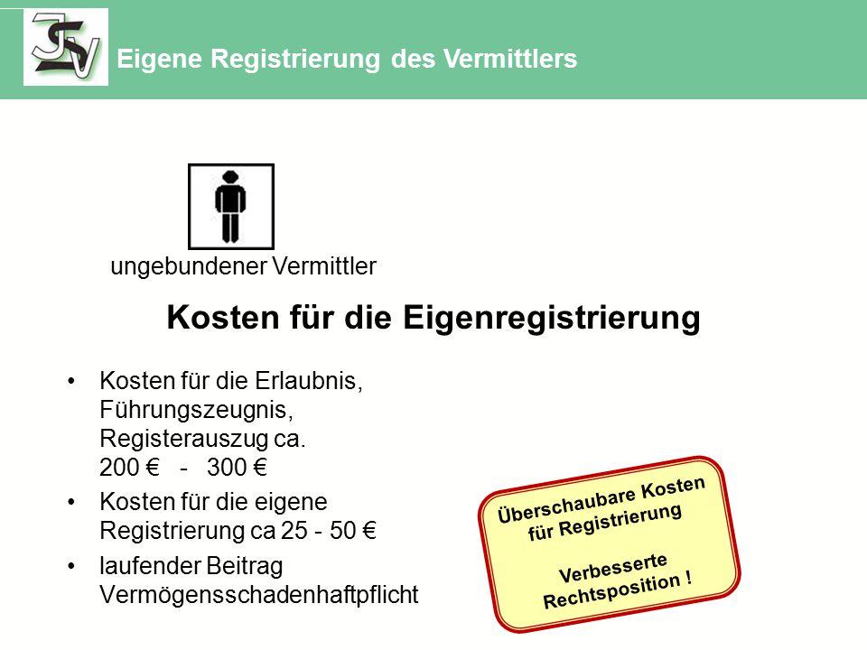 ungebundener Vermittler Kosten für die Eigenregistrierung Kosten für die Erlaubnis, Führungszeugnis, Registerauszug ca. 200 € - 300 € Kosten für die e