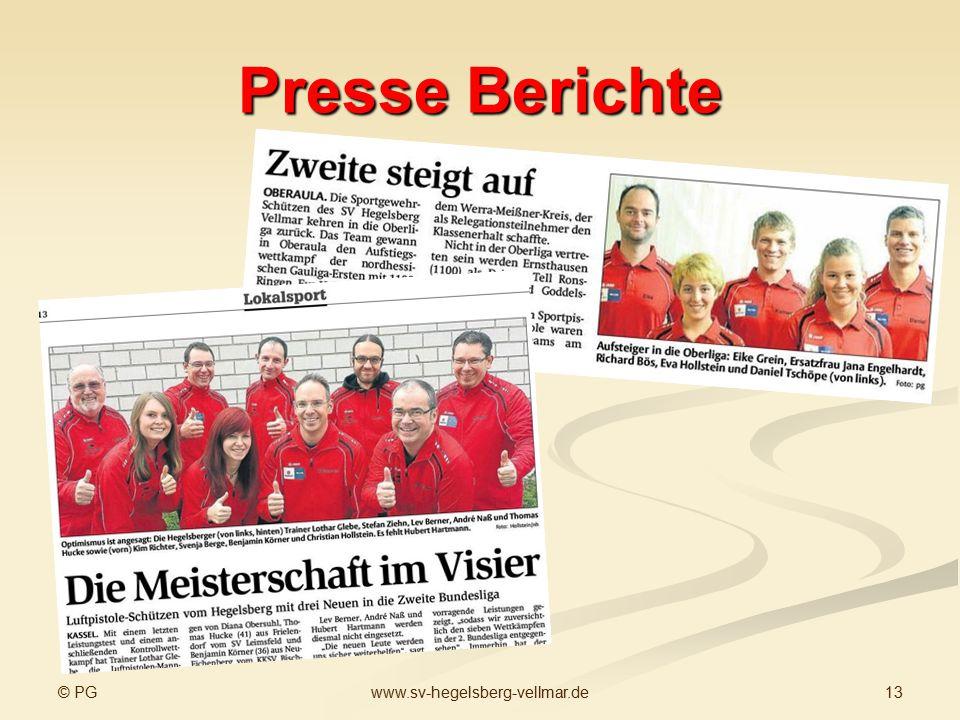 © PG 13www.sv-hegelsberg-vellmar.de Presse Berichte