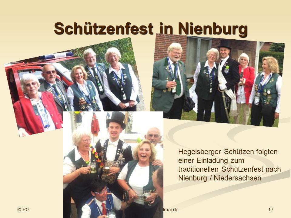 © PG 17www.sv-hegelsberg-vellmar.de Schützenfest in Nienburg Hegelsberger Schützen folgten einer Einladung zum traditionellen Schützenfest nach Nienburg / Niedersachsen Im Wettkampf Siegerehrung