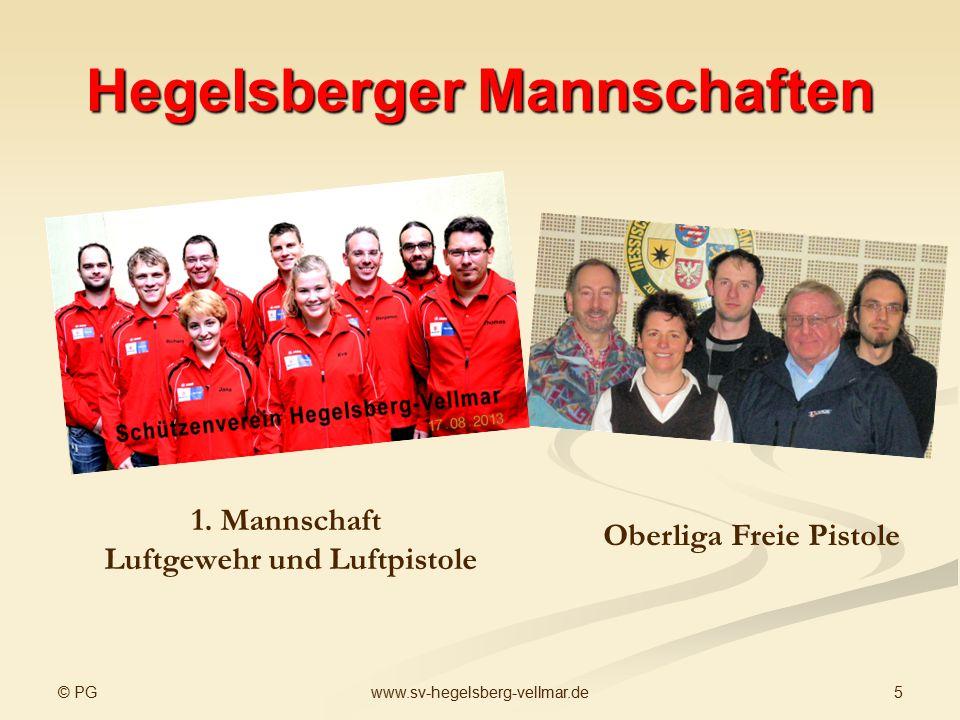 © PG 5www.sv-hegelsberg-vellmar.de Hegelsberger Mannschaften 1. Mannschaft Luftgewehr und Luftpistole Oberliga Freie Pistole