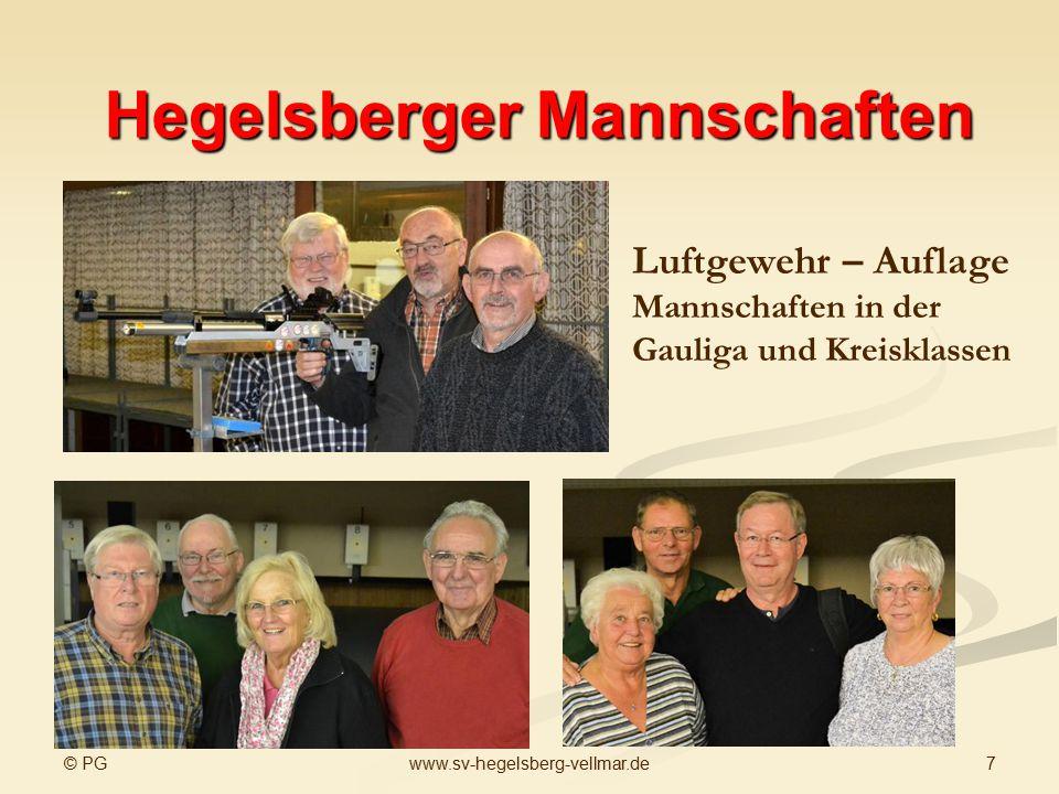 © PG 7www.sv-hegelsberg-vellmar.de Hegelsberger Mannschaften Luftgewehr – Auflage Mannschaften in der Gauliga und Kreisklassen