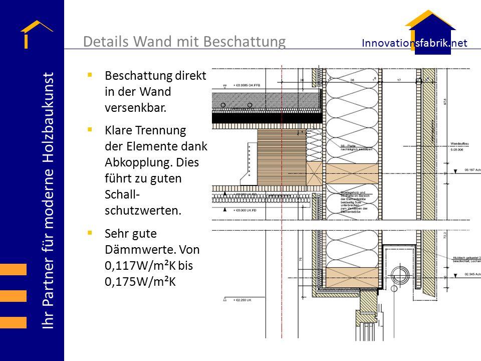 Ihr Partner für moderne Holzbaukunst Innovationsfabrik.net Details Wand mit Beschattung  Beschattung direkt in der Wand versenkbar.  Klare Trennung