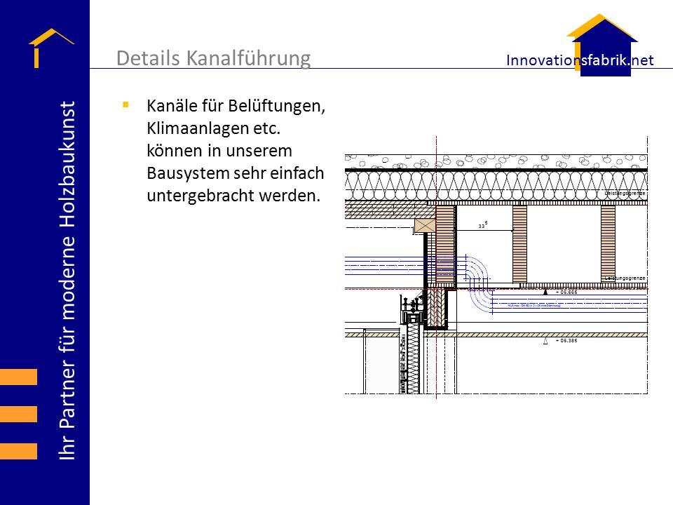Ihr Partner für moderne Holzbaukunst Innovationsfabrik.net Details Kanalführung  Kanäle für Belüftungen, Klimaanlagen etc. können in unserem Bausyste