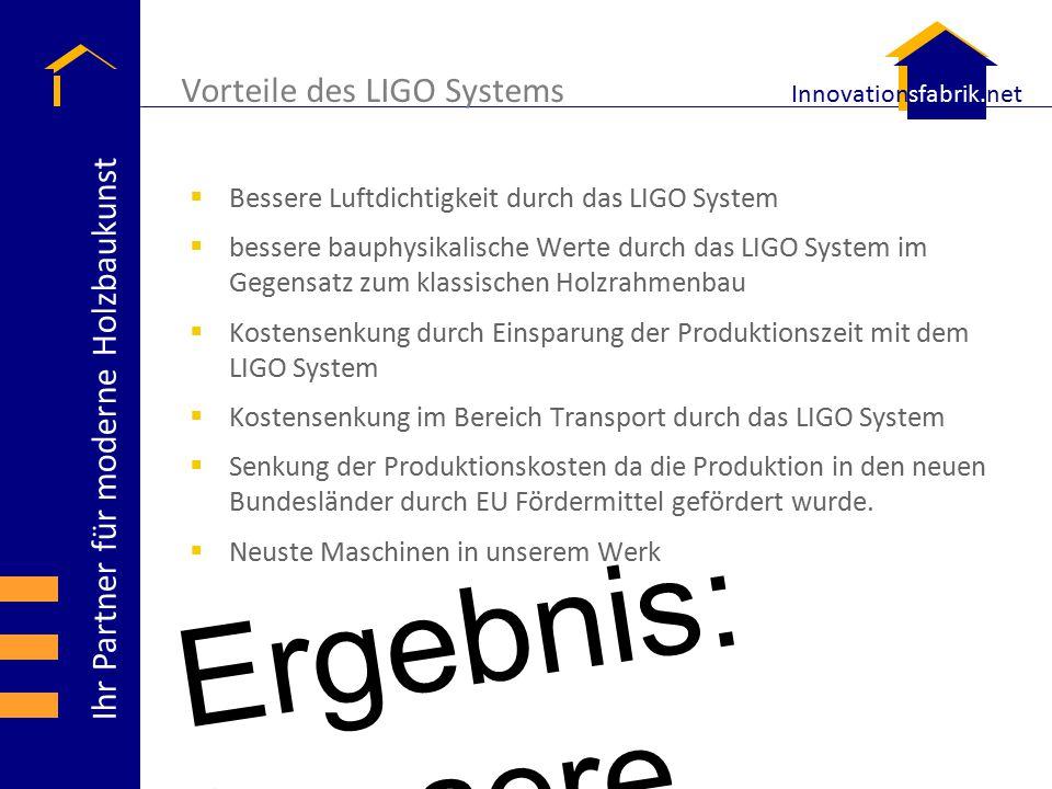 Ihr Partner für moderne Holzbaukunst Innovationsfabrik.net  Bessere Luftdichtigkeit durch das LIGO System  bessere bauphysikalische Werte durch das