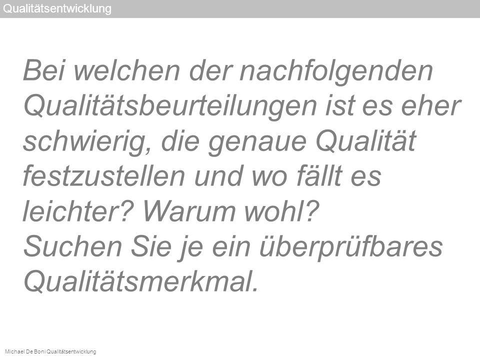 Michael De Boni Qualitätsentwicklung Qualitätsentwicklung