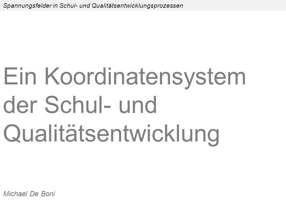 Spannungsfelder in Schul- und Qualitätsentwicklungsprozessen Ein Koordinatensystem der Schul- und Qualitätsentwicklung Michael De Boni