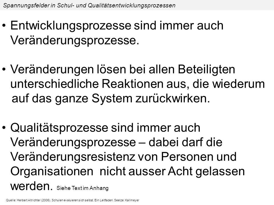 Spannungsfelder in Schul- und Qualitätsentwicklungsprozessen 2.