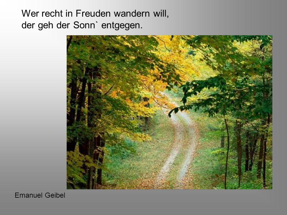 Heute ist mir alles herrlich, wenn`s nur so bliebe! Johann Wolfgang von Goethe