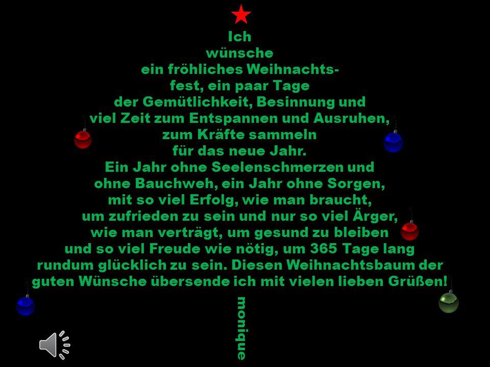 Ich wünsche ein fröhliches Weihnachts- fest, ein paar Tage der Gemütlichkeit, Besinnung und viel Zeit zum Entspannen und Ausruhen, zum Kräfte sammeln für das neue Jahr.