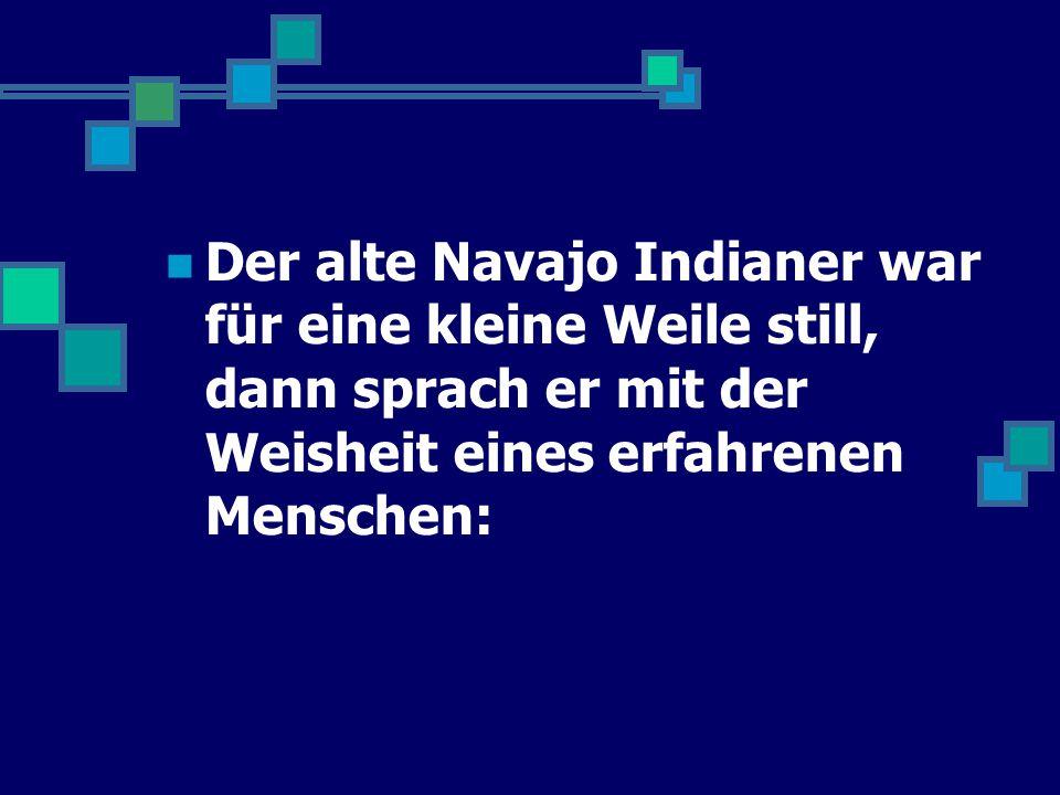 Der alte Navajo Indianer war für eine kleine Weile still, dann sprach er mit der Weisheit eines erfahrenen Menschen: