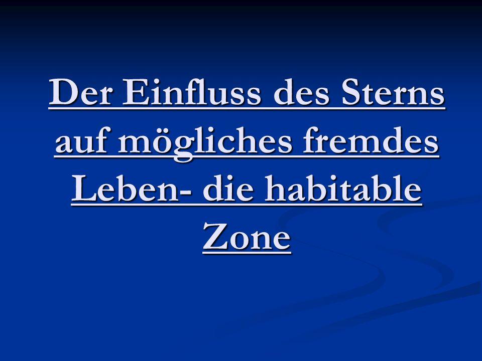 3.2.3 Berechnung der habitablen Zone 2 3,91 *10^26 W * (1-0,31) 3,91 *10^26 W * (1-0,31) a(innen) =√ ---------------------------------------------------- = a(innen) =√ ---------------------------------------------------- = 16π * 5,6705*10^-8 W/m ² *K^4 * 373K^4 16π * 5,6705*10^-8 W/m ² *K^4 * 373K^4 = 6,99*10^10m = 0,469AE 3,91 *10^26 W * (1-0,31) 3,91 *10^26 W * (1-0,31) a(außen) =√ ------------------------------------------------------- = a(außen) =√ ------------------------------------------------------- = 16 π * 5,6705*10^-8 W/m ² *K^4 * 273K^4 16 π * 5,6705*10^-8 W/m ² *K^4 * 273K^4