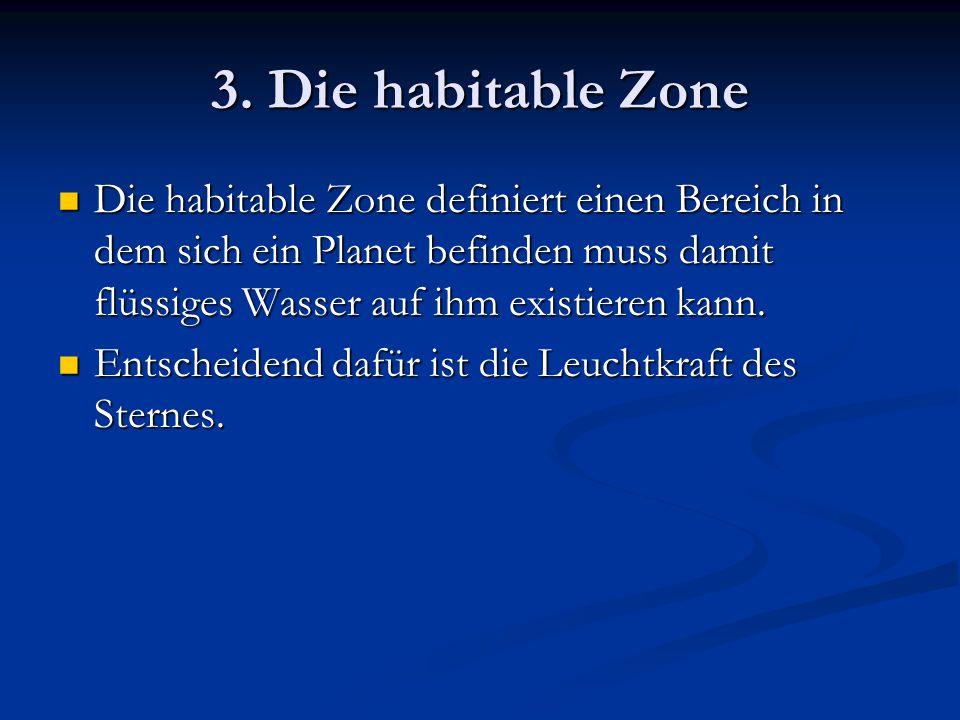 3. Die habitable Zone Die habitable Zone definiert einen Bereich in dem sich ein Planet befinden muss damit flüssiges Wasser auf ihm existieren kann.