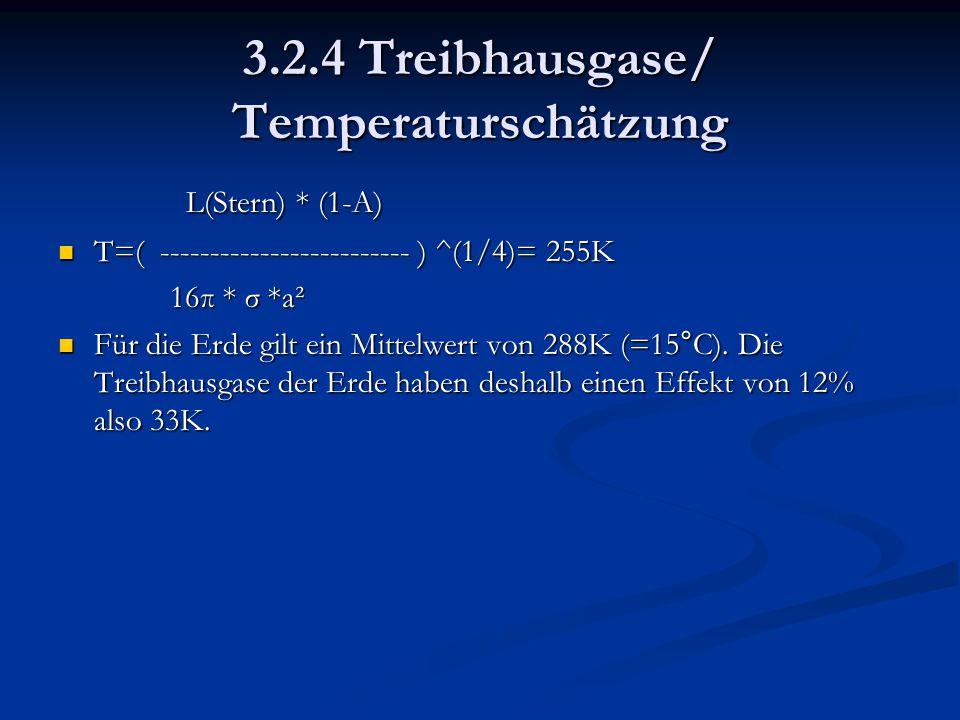 3.2.4 Treibhausgase/ Temperaturschätzung L(Stern) * (1-A) L(Stern) * (1-A) T=( ------------------------- ) ^(1/4)= 255K T=( -------------------------