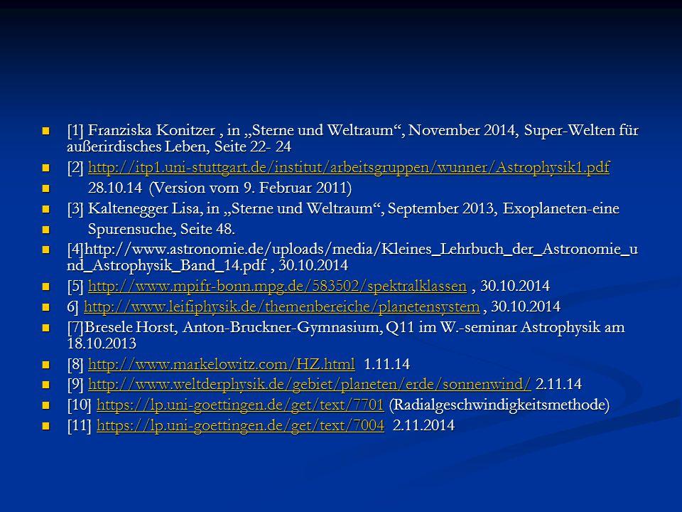"""[1] Franziska Konitzer, in """"Sterne und Weltraum"""", November 2014, Super-Welten für außerirdisches Leben, Seite 22- 24 [1] Franziska Konitzer, in """"Stern"""