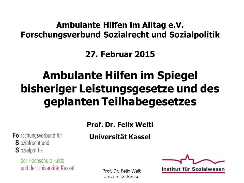 Prof. Dr. Felix Welti Universität Kassel Ambulante Hilfen im Alltag e.V. Forschungsverbund Sozialrecht und Sozialpolitik 27. Februar 2015 Ambulante Hi
