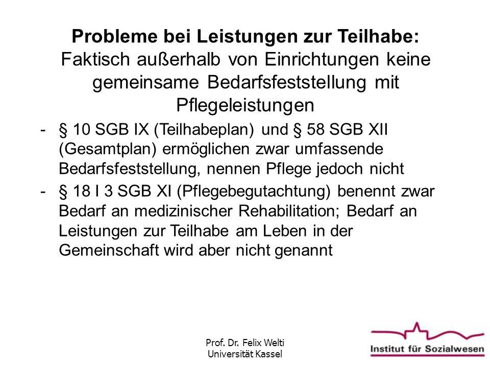 Prof. Dr. Felix Welti Universität Kassel Probleme bei Leistungen zur Teilhabe: Faktisch außerhalb von Einrichtungen keine gemeinsame Bedarfsfeststellu