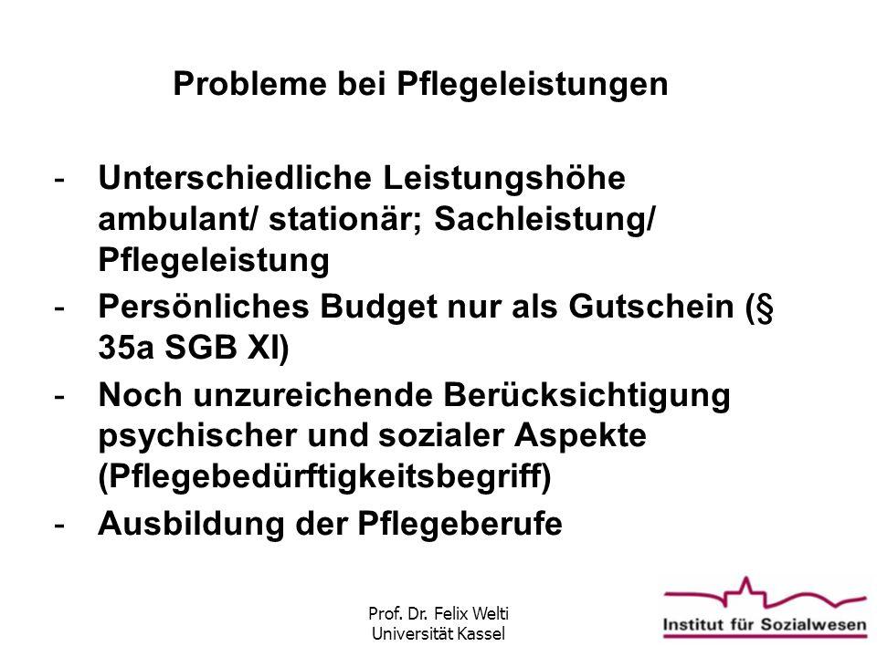 Prof. Dr. Felix Welti Universität Kassel Probleme bei Pflegeleistungen -Unterschiedliche Leistungshöhe ambulant/ stationär; Sachleistung/ Pflegeleistu