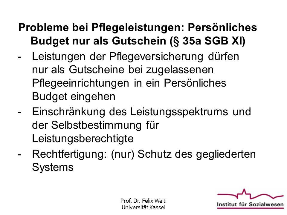 Prof. Dr. Felix Welti Universität Kassel Probleme bei Pflegeleistungen: Persönliches Budget nur als Gutschein (§ 35a SGB XI) -Leistungen der Pflegever