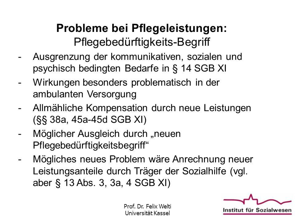 Prof. Dr. Felix Welti Universität Kassel Probleme bei Pflegeleistungen: Pflegebedürftigkeits-Begriff -Ausgrenzung der kommunikativen, sozialen und psy