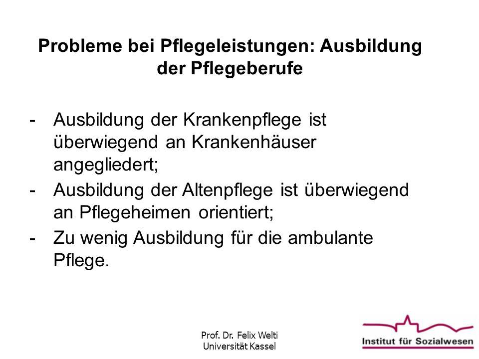 Prof. Dr. Felix Welti Universität Kassel Probleme bei Pflegeleistungen: Ausbildung der Pflegeberufe -Ausbildung der Krankenpflege ist überwiegend an K
