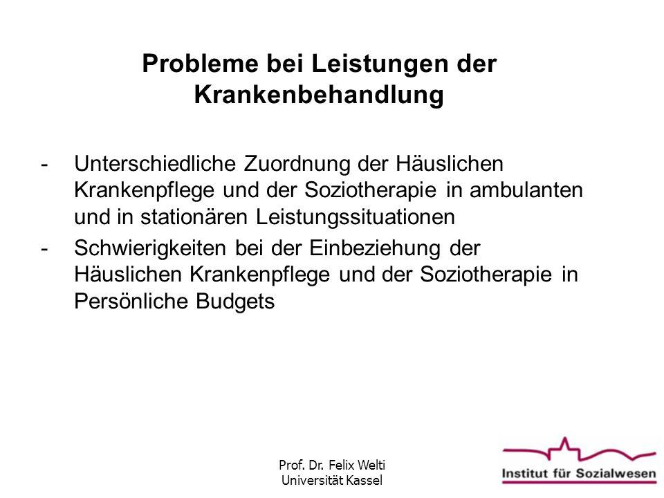 Prof. Dr. Felix Welti Universität Kassel Probleme bei Leistungen der Krankenbehandlung -Unterschiedliche Zuordnung der Häuslichen Krankenpflege und de