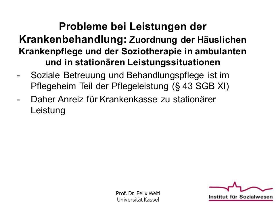 Prof. Dr. Felix Welti Universität Kassel Probleme bei Leistungen der Krankenbehandlung: Zuordnung der Häuslichen Krankenpflege und der Soziotherapie i