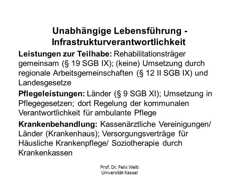 Prof. Dr. Felix Welti Universität Kassel Unabhängige Lebensführung - Infrastrukturverantwortlichkeit Leistungen zur Teilhabe: Rehabilitationsträger ge