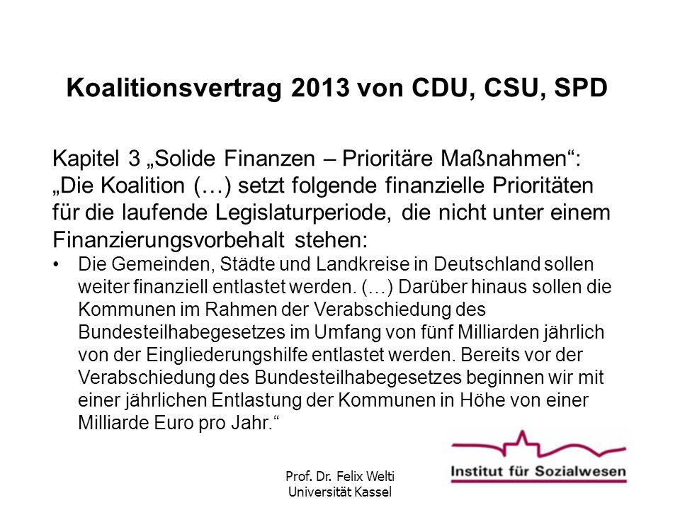 """Prof. Dr. Felix Welti Universität Kassel Koalitionsvertrag 2013 von CDU, CSU, SPD Kapitel 3 """"Solide Finanzen – Prioritäre Maßnahmen"""": """"Die Koalition ("""