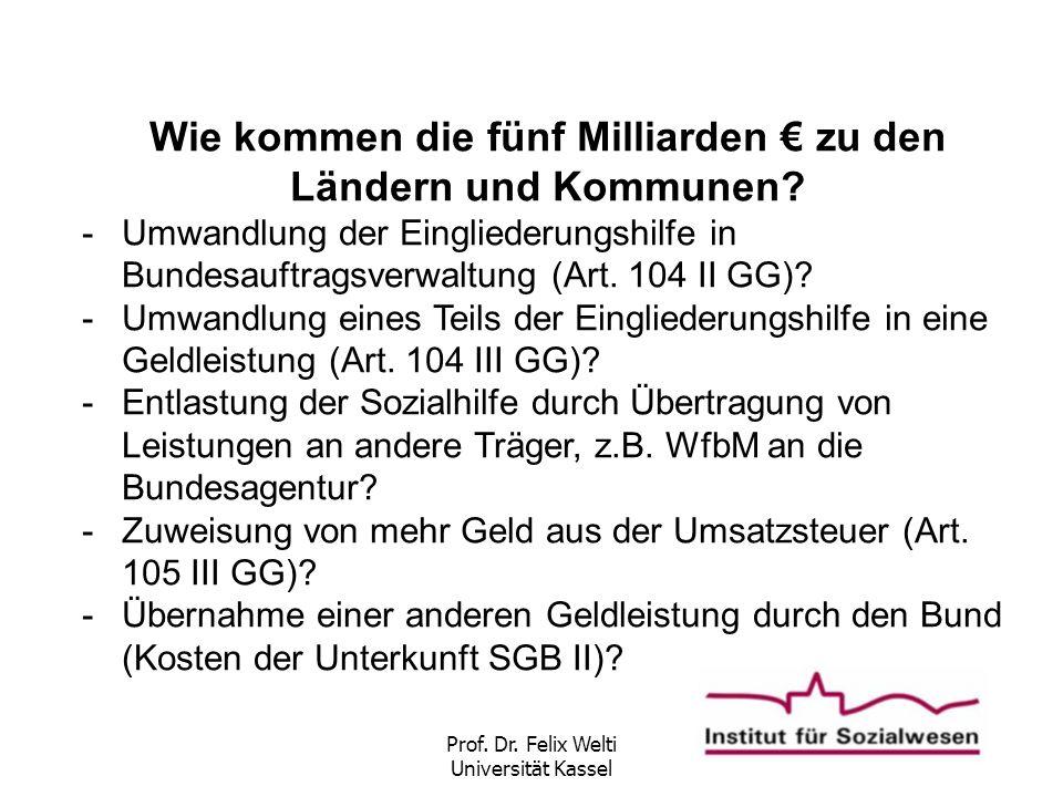 Prof. Dr. Felix Welti Universität Kassel Wie kommen die fünf Milliarden € zu den Ländern und Kommunen? -Umwandlung der Eingliederungshilfe in Bundesau