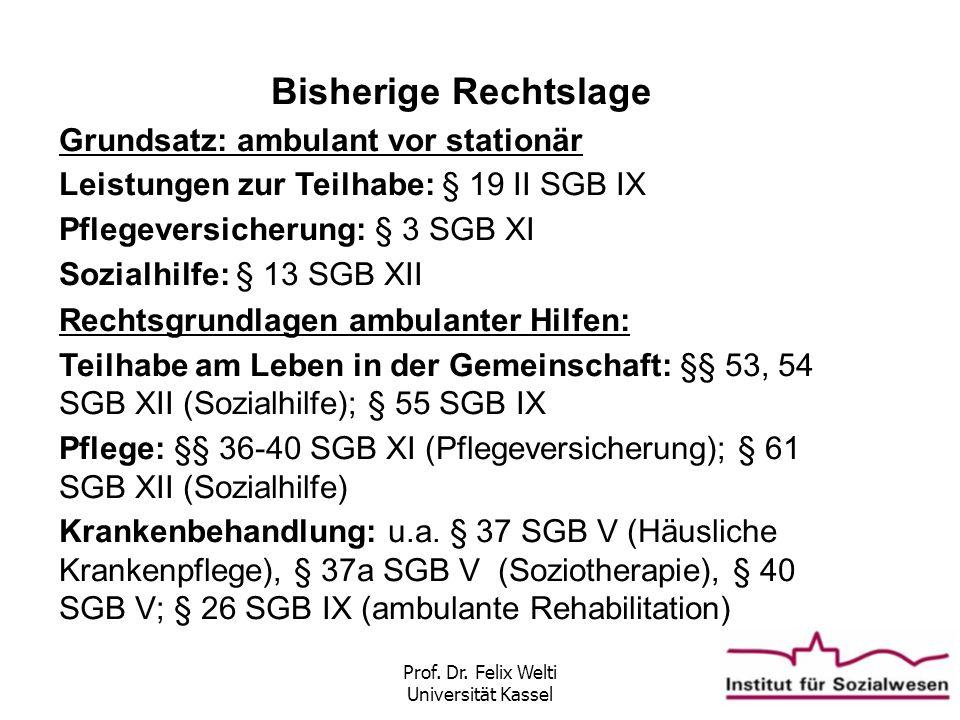 Prof. Dr. Felix Welti Universität Kassel Bisherige Rechtslage Grundsatz: ambulant vor stationär Leistungen zur Teilhabe: § 19 II SGB IX Pflegeversiche