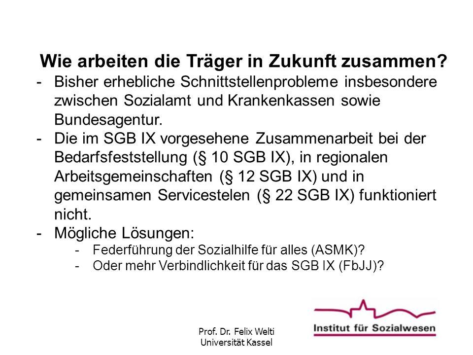 Prof. Dr. Felix Welti Universität Kassel Wie arbeiten die Träger in Zukunft zusammen? -Bisher erhebliche Schnittstellenprobleme insbesondere zwischen