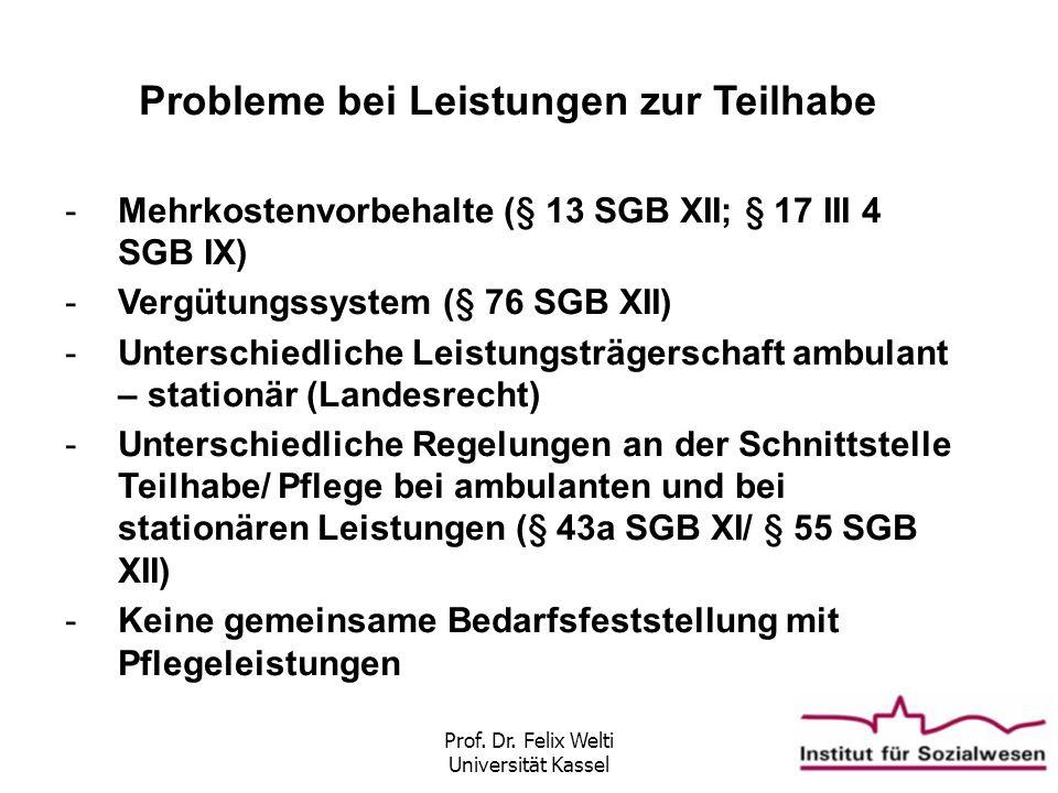 Prof. Dr. Felix Welti Universität Kassel Probleme bei Leistungen zur Teilhabe -Mehrkostenvorbehalte (§ 13 SGB XII; § 17 III 4 SGB IX) -Vergütungssyste