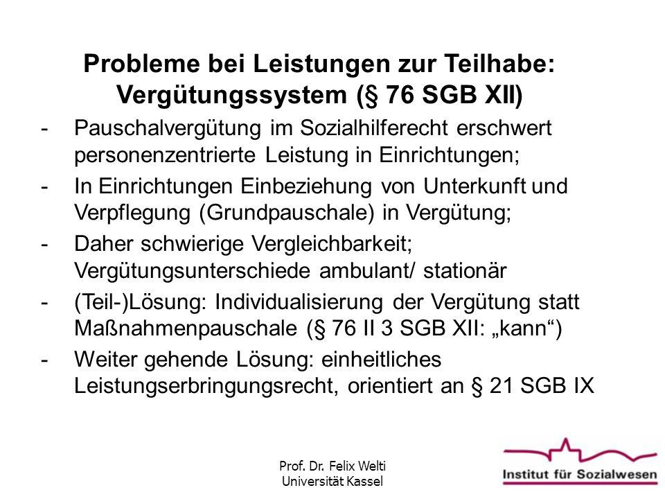 Prof. Dr. Felix Welti Universität Kassel Probleme bei Leistungen zur Teilhabe: Vergütungssystem (§ 76 SGB XII) -Pauschalvergütung im Sozialhilferecht