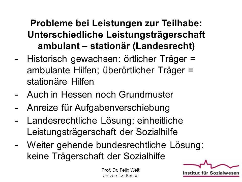 Prof. Dr. Felix Welti Universität Kassel Probleme bei Leistungen zur Teilhabe: Unterschiedliche Leistungsträgerschaft ambulant – stationär (Landesrech