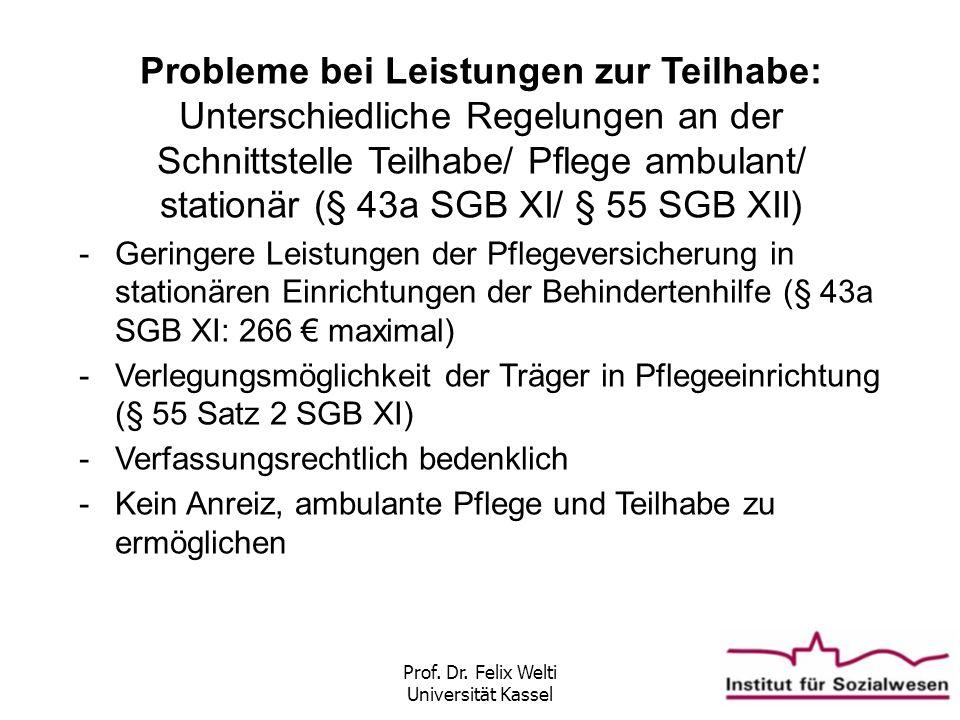 Prof. Dr. Felix Welti Universität Kassel Probleme bei Leistungen zur Teilhabe: Unterschiedliche Regelungen an der Schnittstelle Teilhabe/ Pflege ambul