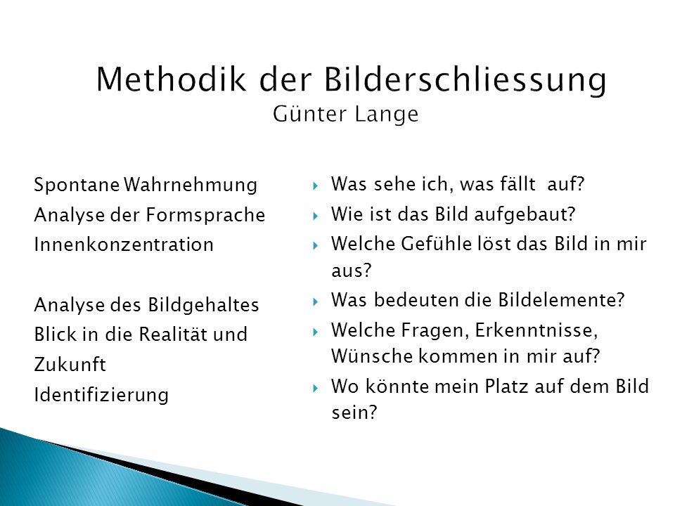 Methodik der Bilderschliessung Günter Lange Spontane Wahrnehmung Analyse der Formsprache Innenkonzentration Analyse des Bildgehaltes Blick in die Real