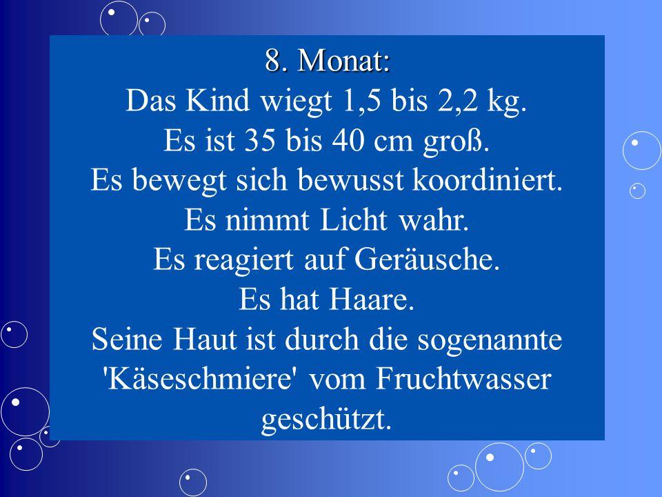 8.Monat: Das Kind wiegt 1,5 bis 2,2 kg. Es ist 35 bis 40 cm groß.