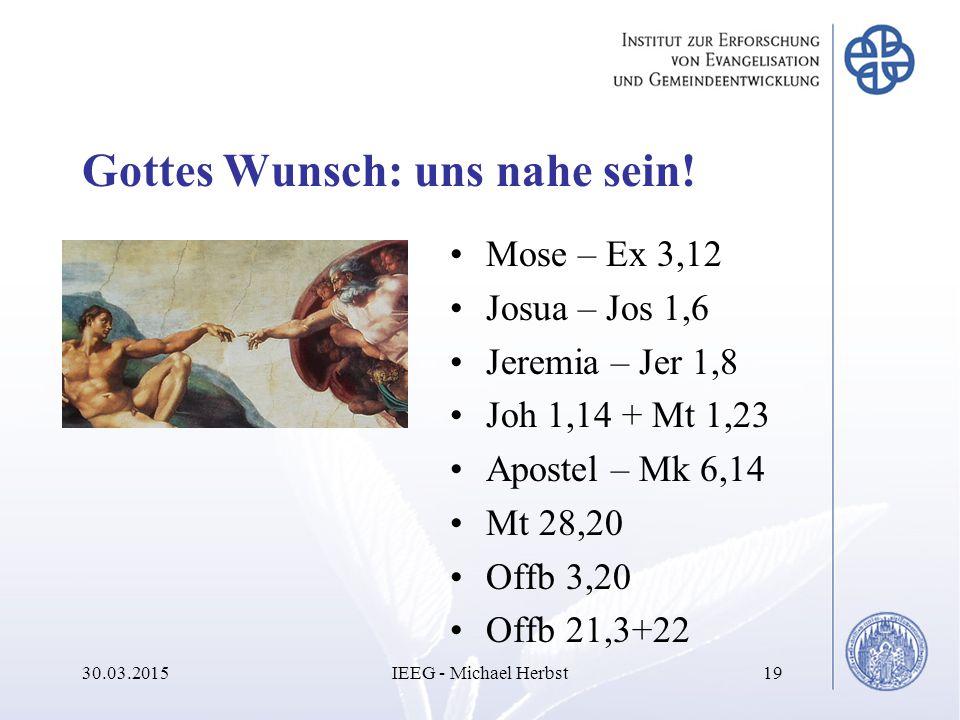 Gottes Wunsch: uns nahe sein! Mose – Ex 3,12 Josua – Jos 1,6 Jeremia – Jer 1,8 Joh 1,14 + Mt 1,23 Apostel – Mk 6,14 Mt 28,20 Offb 3,20 Offb 21,3+22 30