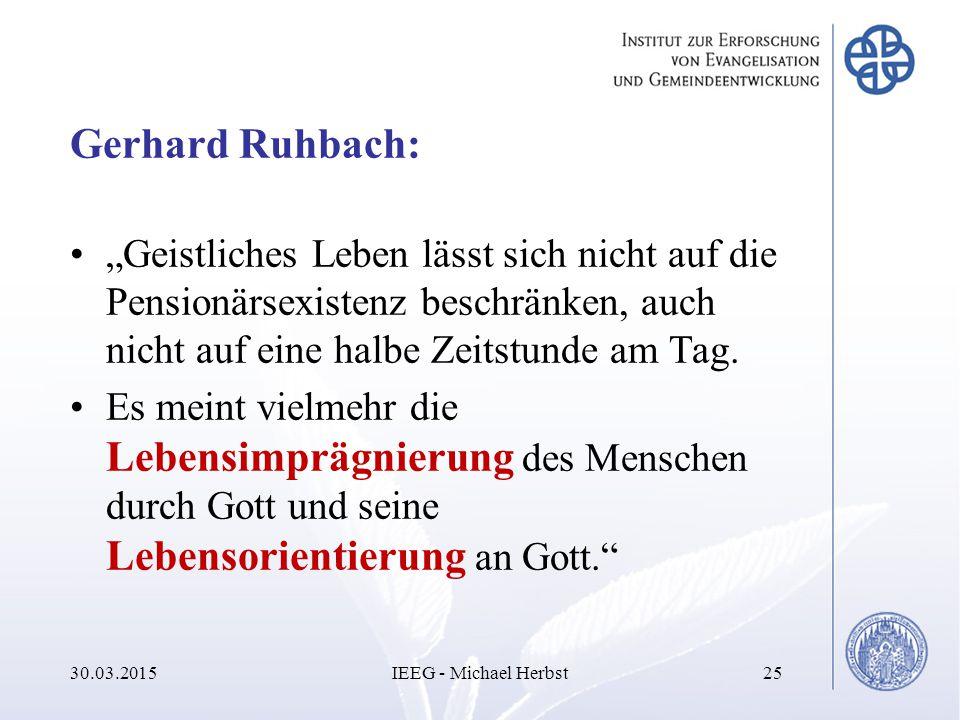 """Gerhard Ruhbach: """"Geistliches Leben lässt sich nicht auf die Pensionärsexistenz beschränken, auch nicht auf eine halbe Zeitstunde am Tag. Es meint vie"""