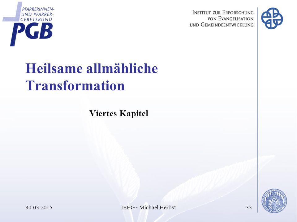 Heilsame allmähliche Transformation Viertes Kapitel 30.03.2015IEEG - Michael Herbst33