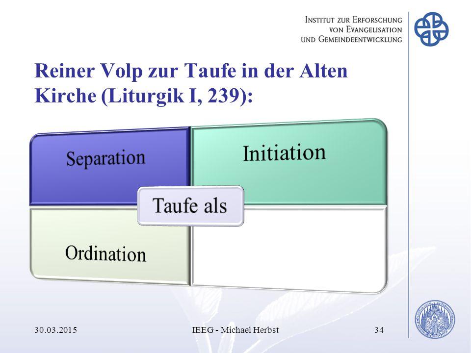 Reiner Volp zur Taufe in der Alten Kirche (Liturgik I, 239): 30.03.2015IEEG - Michael Herbst34