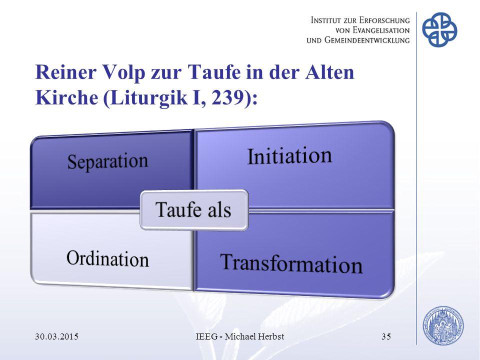 Reiner Volp zur Taufe in der Alten Kirche (Liturgik I, 239): 30.03.2015IEEG - Michael Herbst35